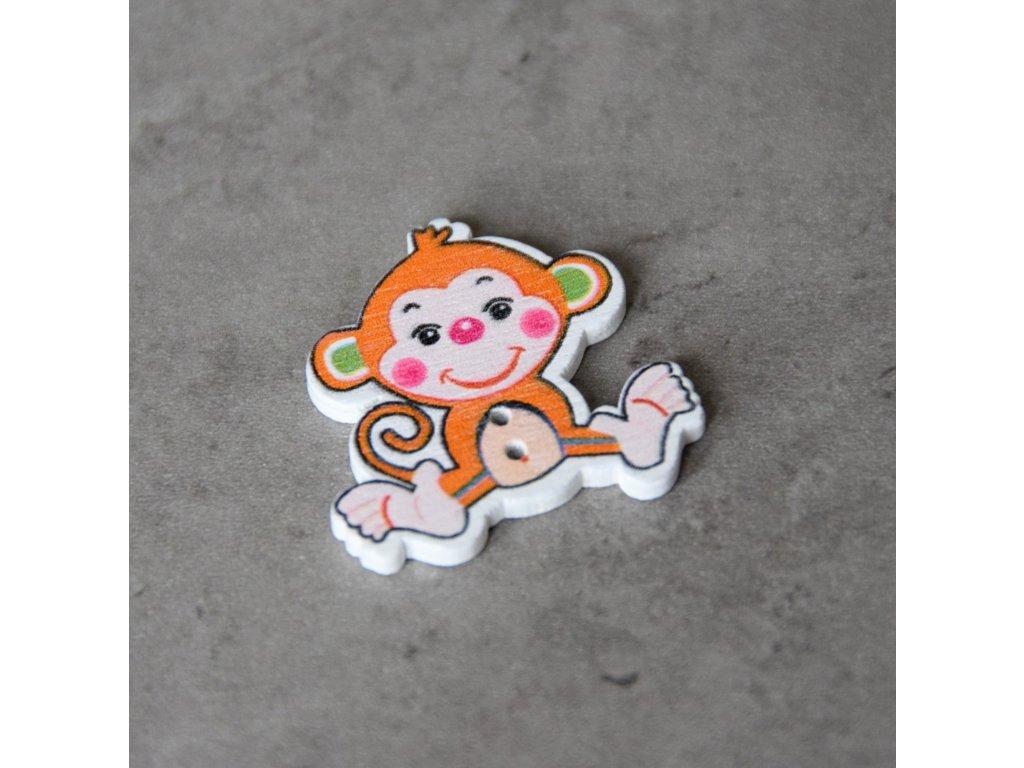 Dřevěný dekorační knoflík - opice - oranžová