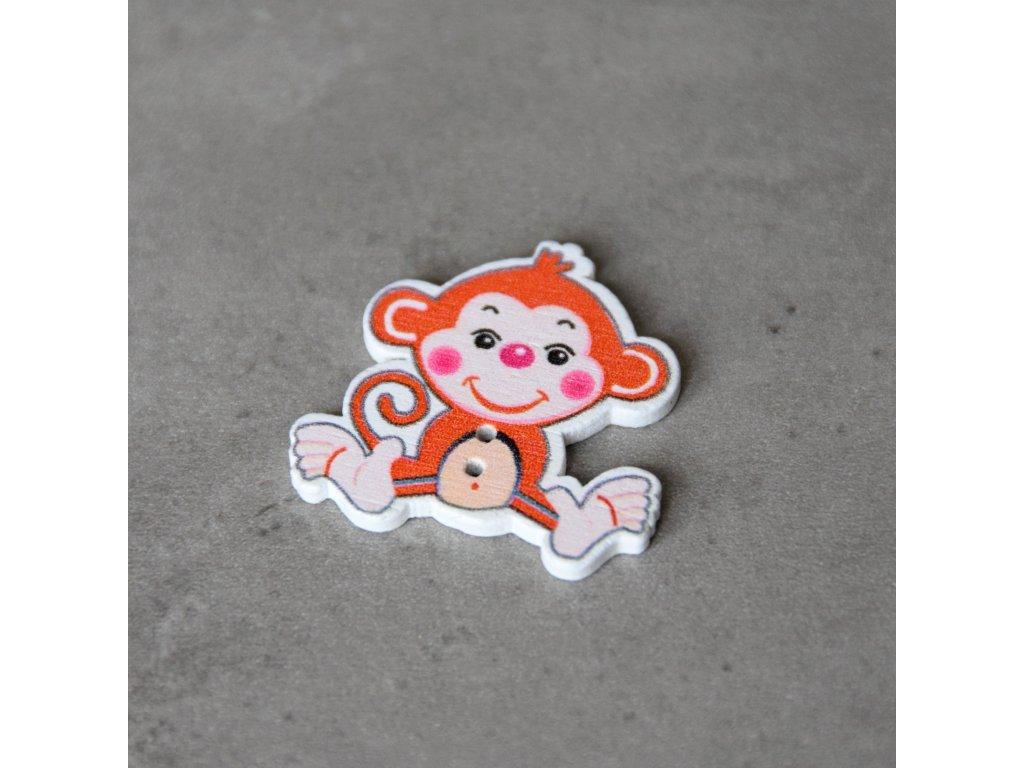 Dřevěný dekorační knoflík - opice - červená