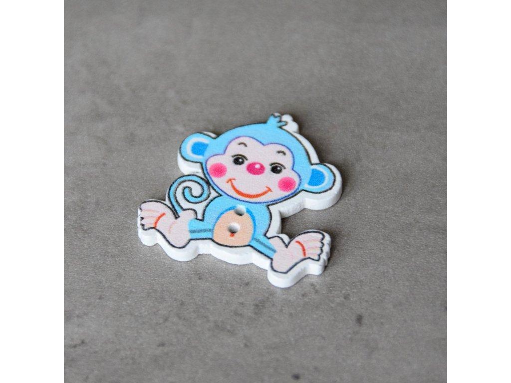 Dřevěný dekorační knoflík - opice - modrá