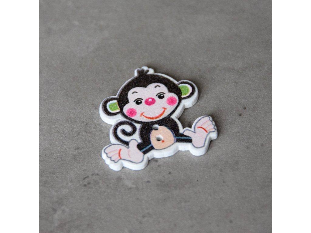Dřevěný dekorační knoflík - opice - černá