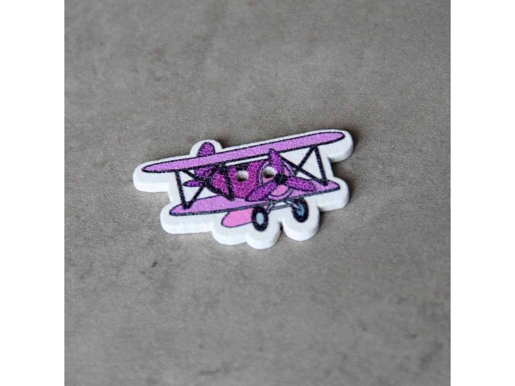 Dřevěný dekorační knoflík - letadlo - fialové
