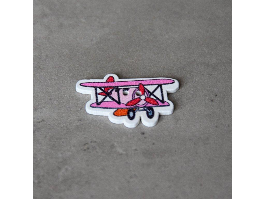 Dřevěný dekorační knoflík - letadlo - růžové