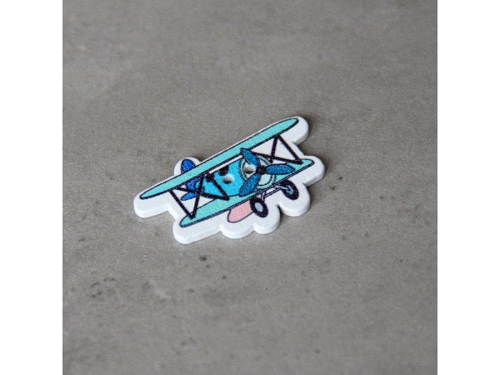 Dřevěný dekorační knoflík - letadlo - modré