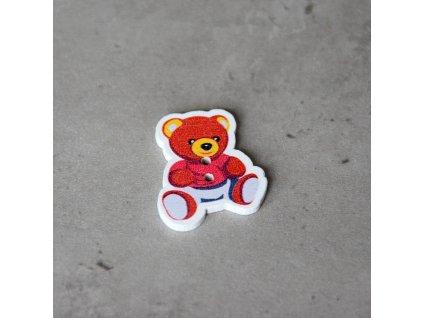Dřevěný dekorační knoflík - medvídek - červený