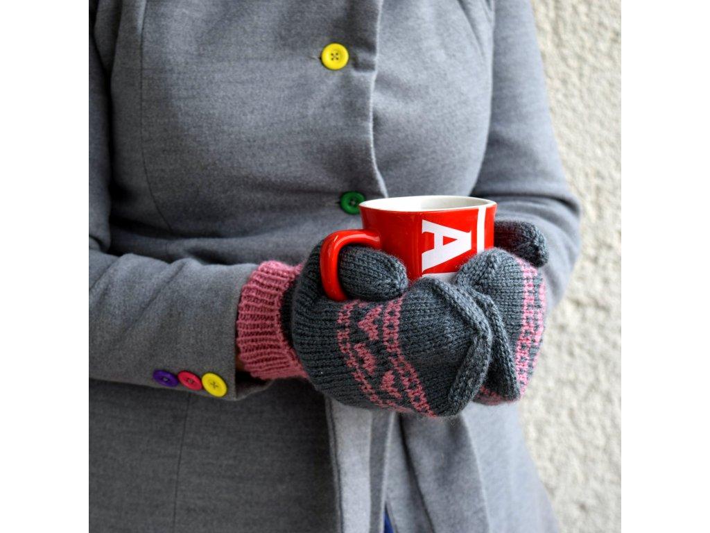 Dámské rukavice -  šedá/růžová