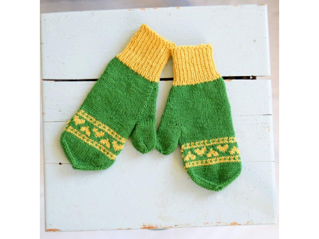 Dámské rukavice - tmavě zelená/žlutá