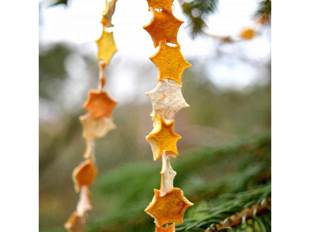 Vánoční řetěz - citronová hvězdička - malá