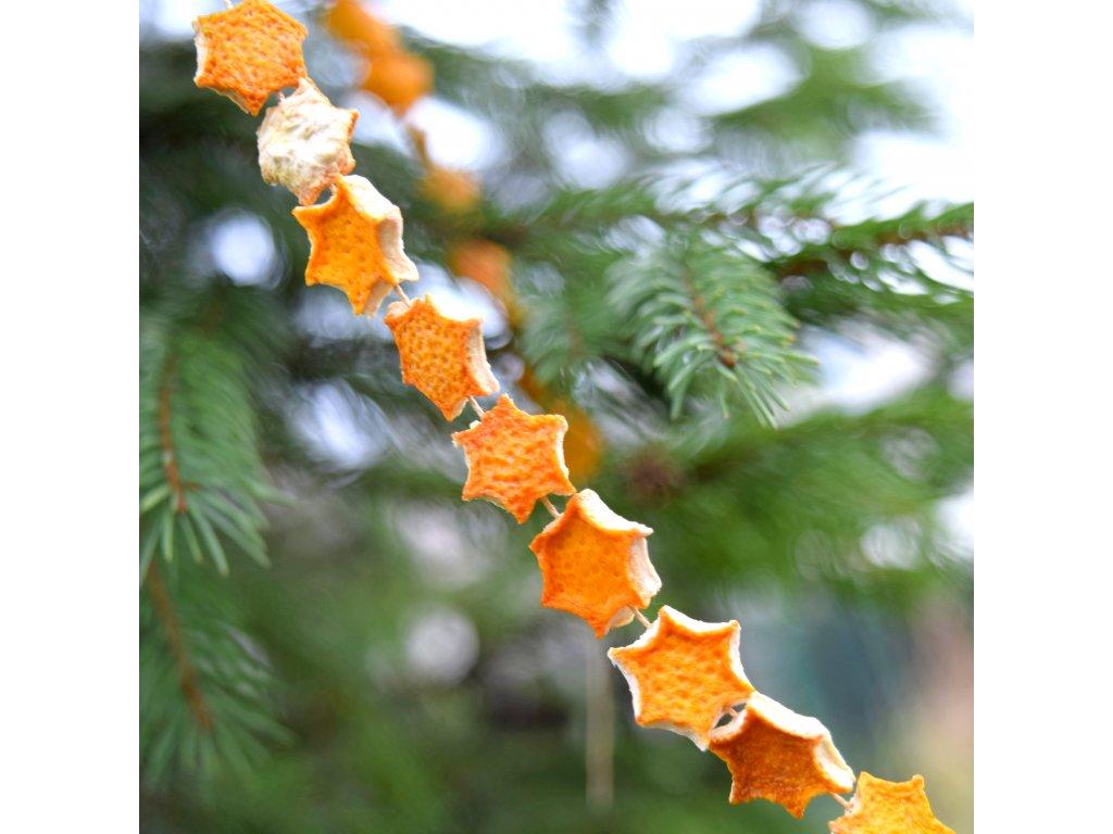 Vánoční řetěz - pomerančová hvězdička - malá
