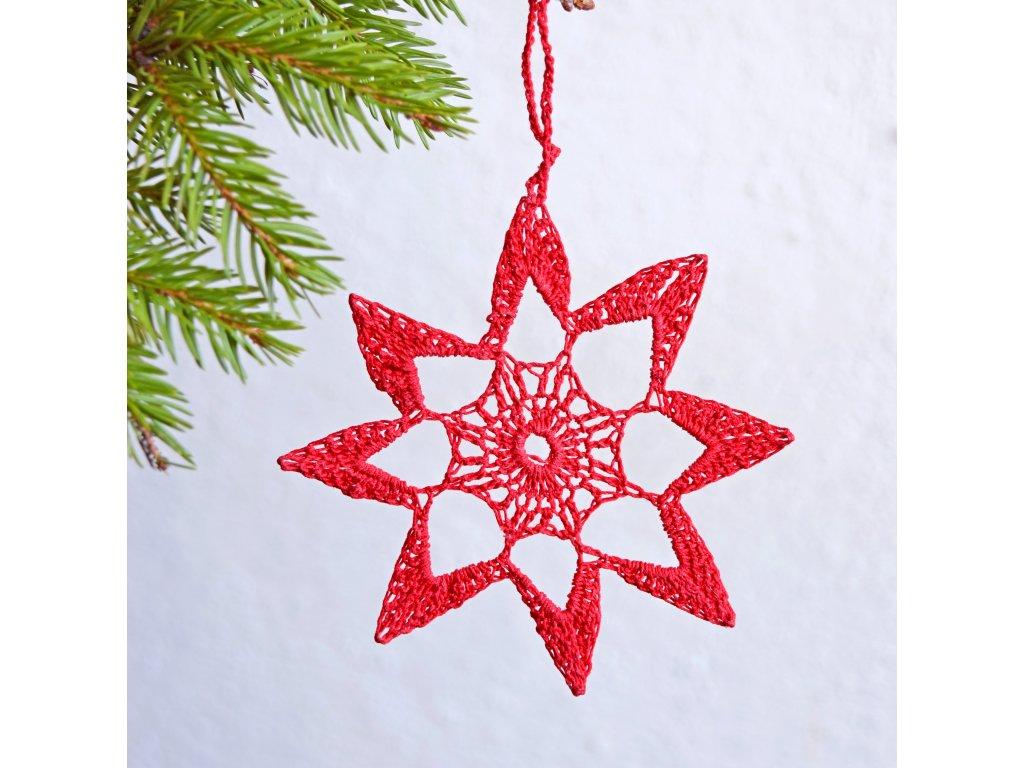 Vánoční hvězdička 05 - střední - červená