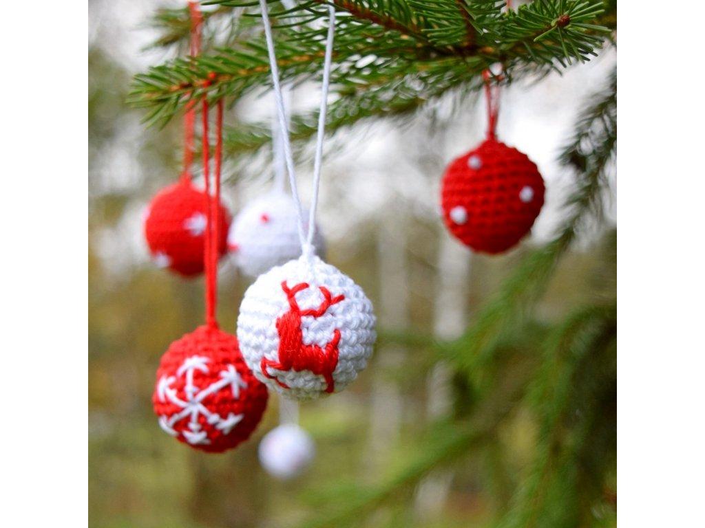 Sada vánočních minikouliček - 6 kusů - červená/bílá