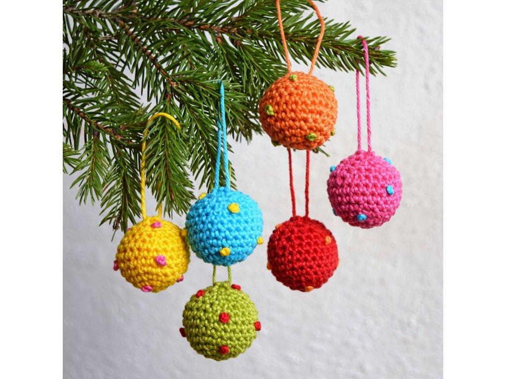 Sada vánočních minikouliček - 6 kusů - pestrobarevné