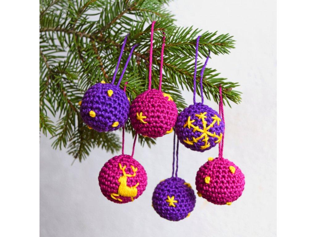 Sada vánočních minikouliček - 6 kusů - fialová/bordó