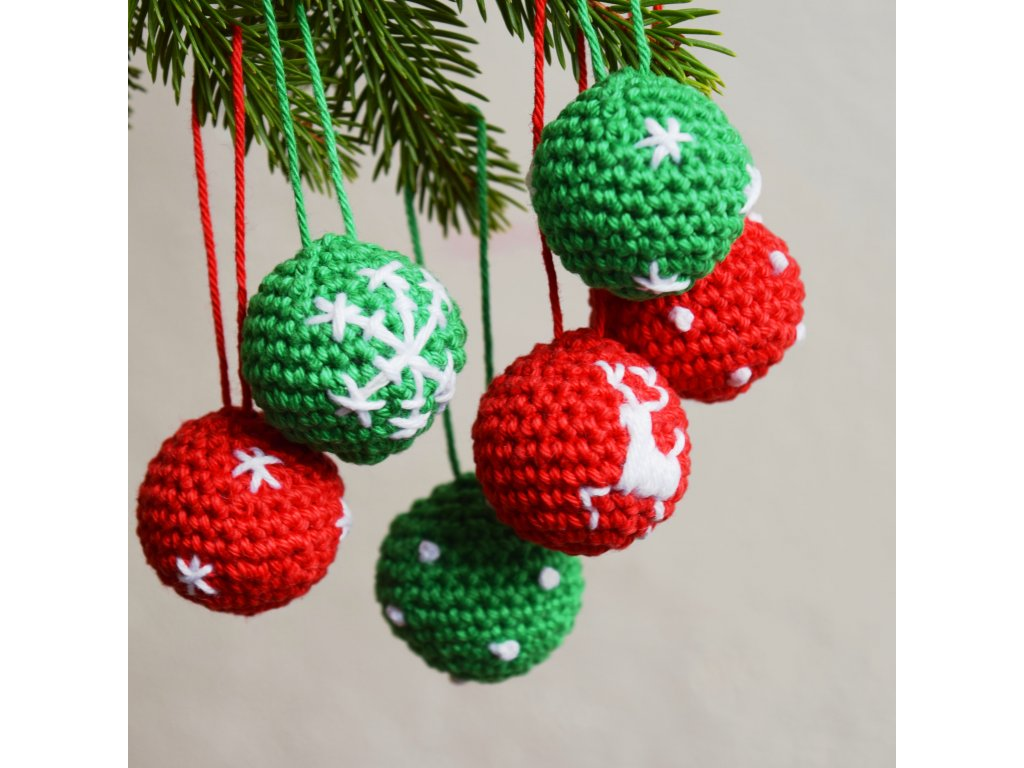 Sada vánočních minikouliček - 6 kusů - červená/zelená