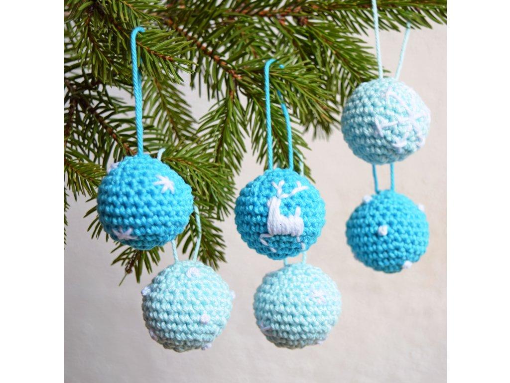 Sada vánočních minikouliček - 6 kusů - světle modré