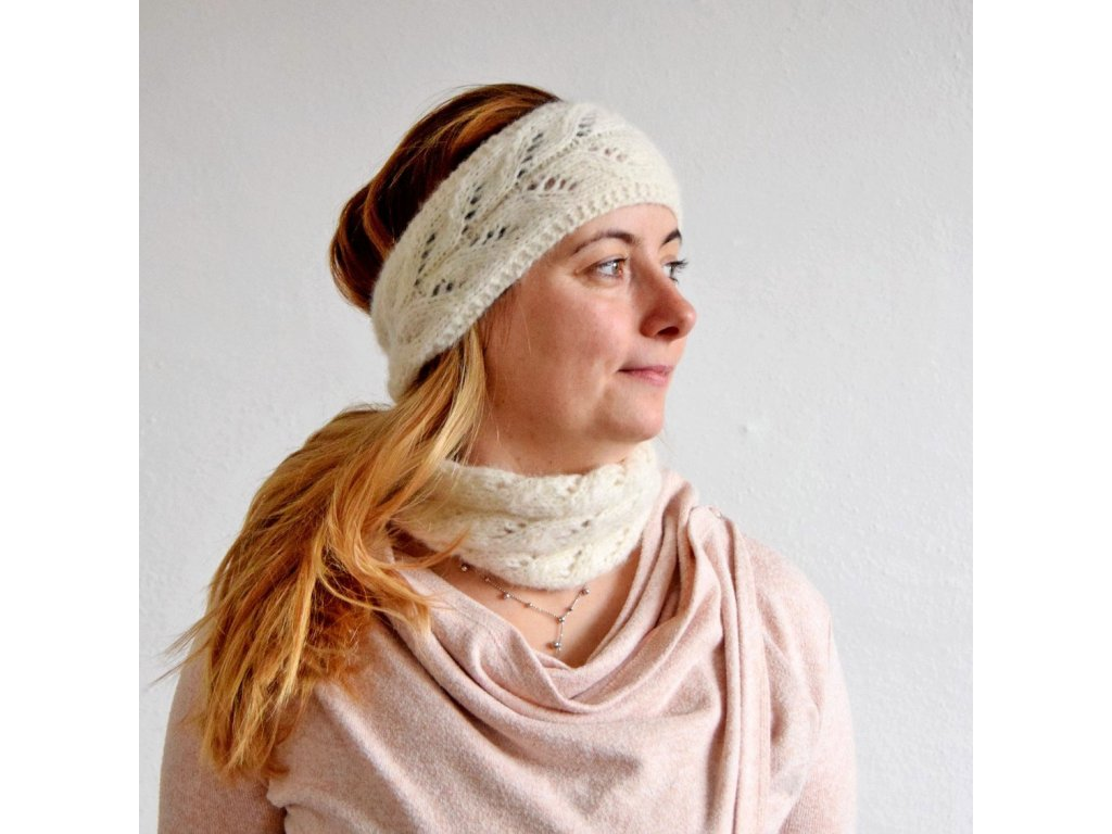 Sada - čelenka a nákrčník s krajkovým vzorem - smetanová