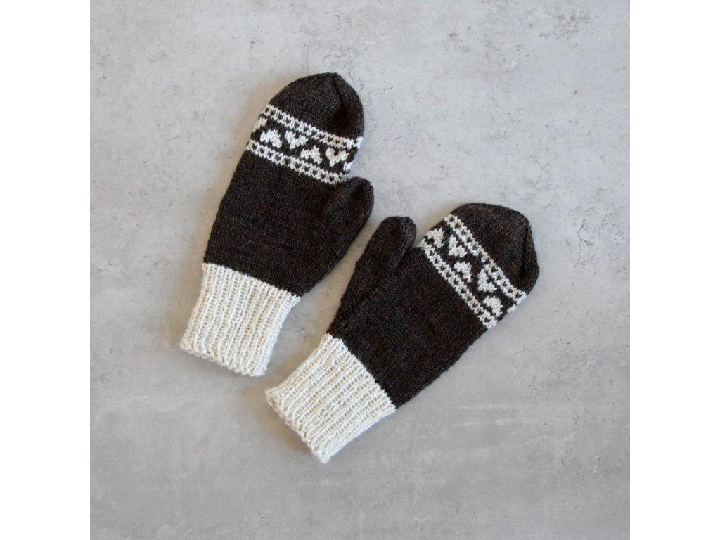 Dámské rukavice -  tmavě hnědá/smetanová