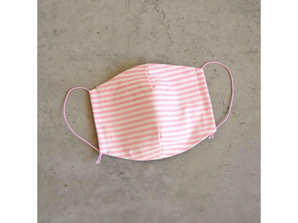 Bavlněná rouška dámská - růžové proužky