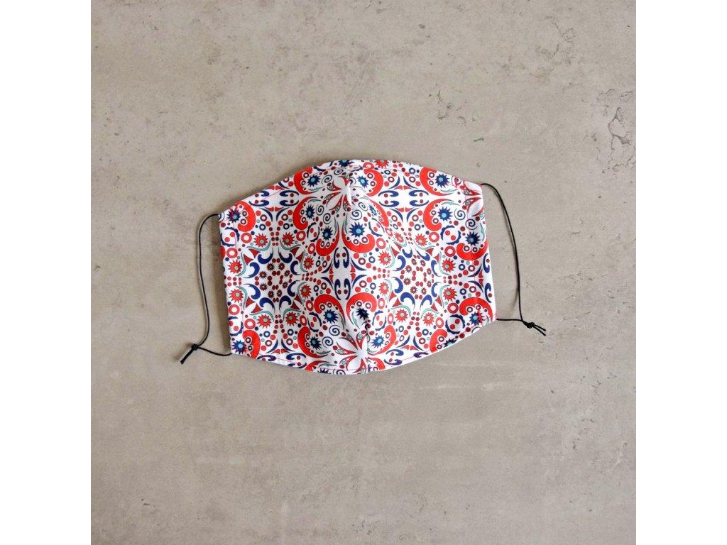 Bavlněná rouška dámská - barevný vzor