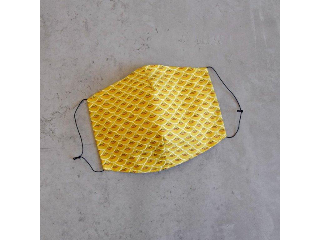 Bavlněná rouška pánská - žluté obloučky