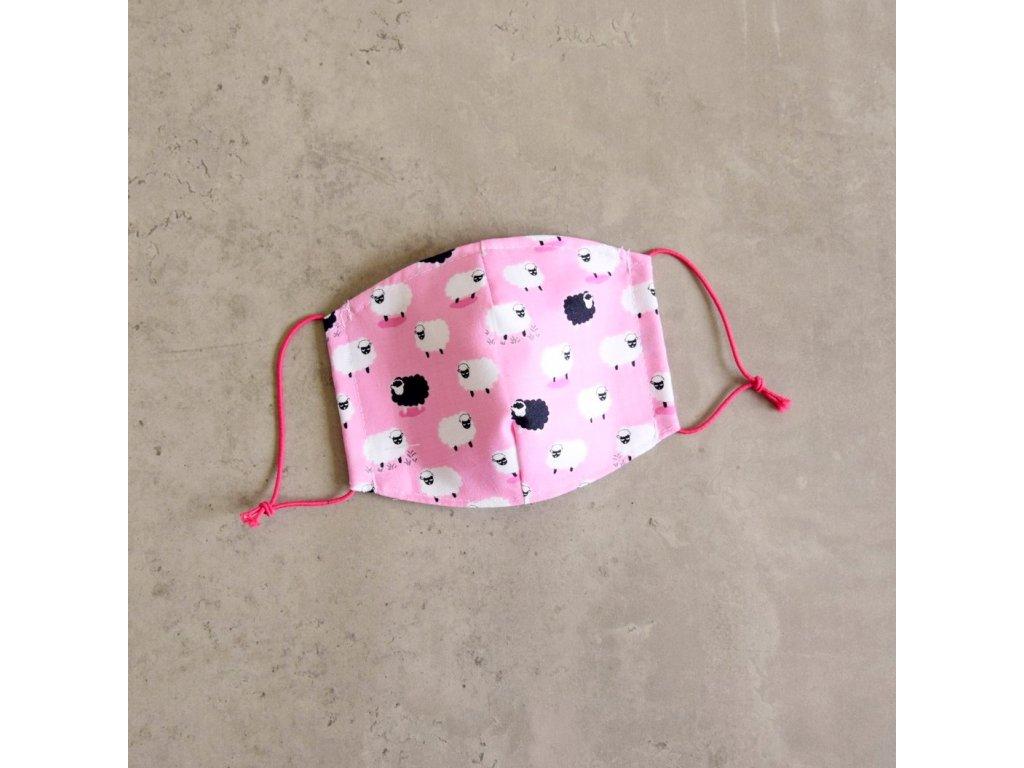 Bavlněná rouška dětská - ovečky - růžová