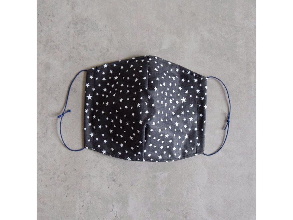 Bavlněná rouška pánská - šedá s hvězdičkami