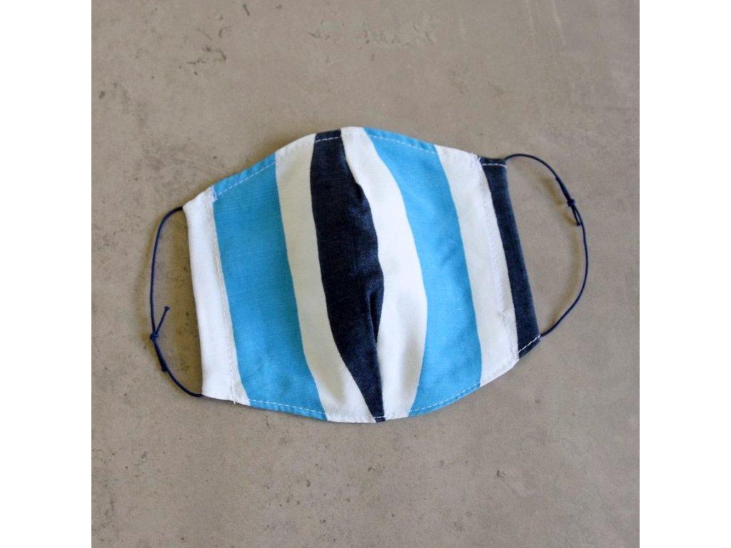 Bavlněná rouška dámská - modré pruhy