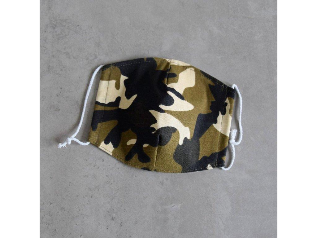 Bavlněná rouška dámská - maskáč