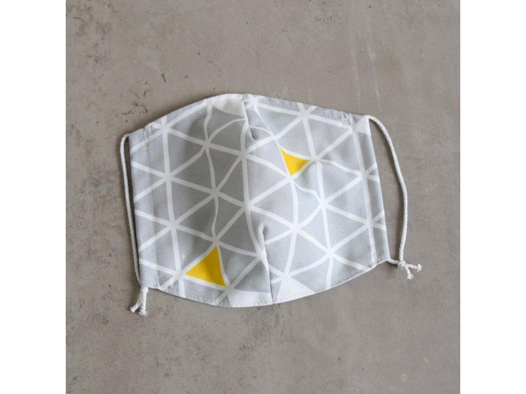 Bavlněná rouška pánská - trojúhelníky