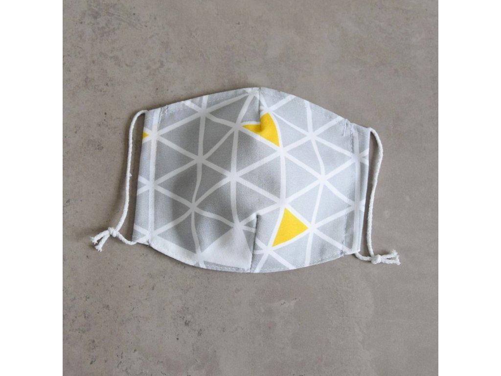 Bavlněná rouška dámská - trojúhelníky
