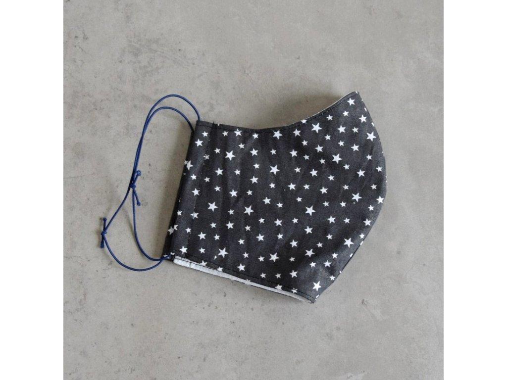 Bavlněná rouška dámská - šedá s hvězdičkami