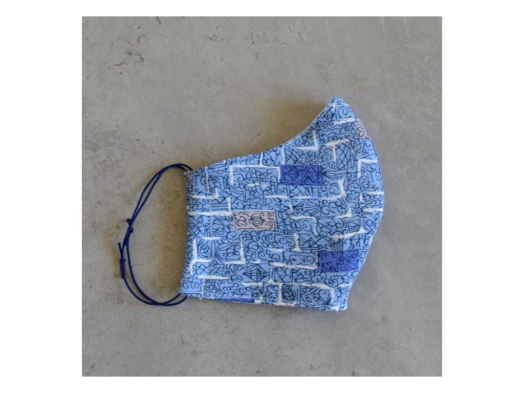 Bavlněná rouška dámská - modrá