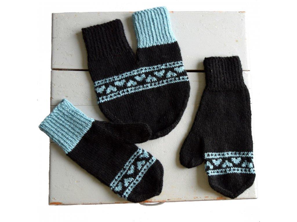 Partnerské rukavice - černá/modrá