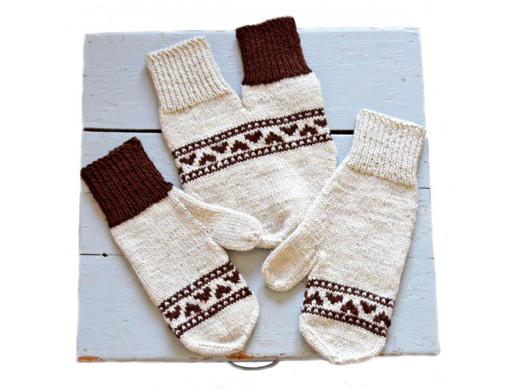 Partnerské rukavice - smetanová/hnědá