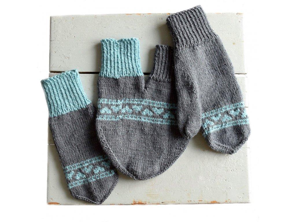 Partnerské rukavice - šedá/světlá modrá