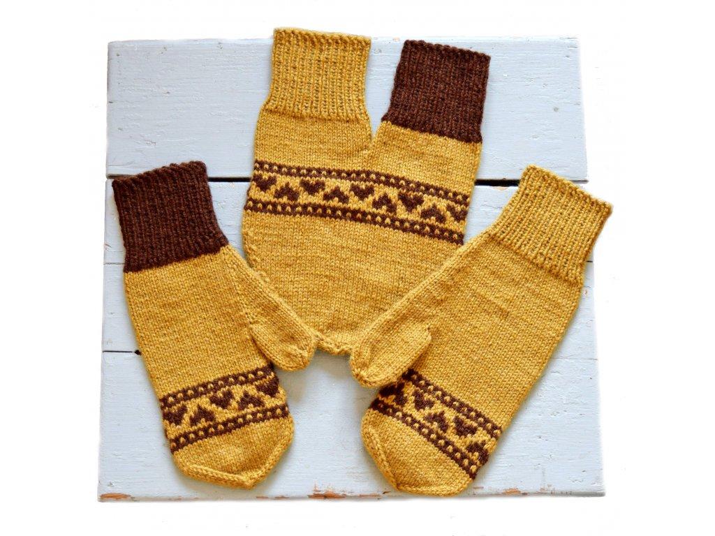 Partnerské rukavice - písková/hnědá