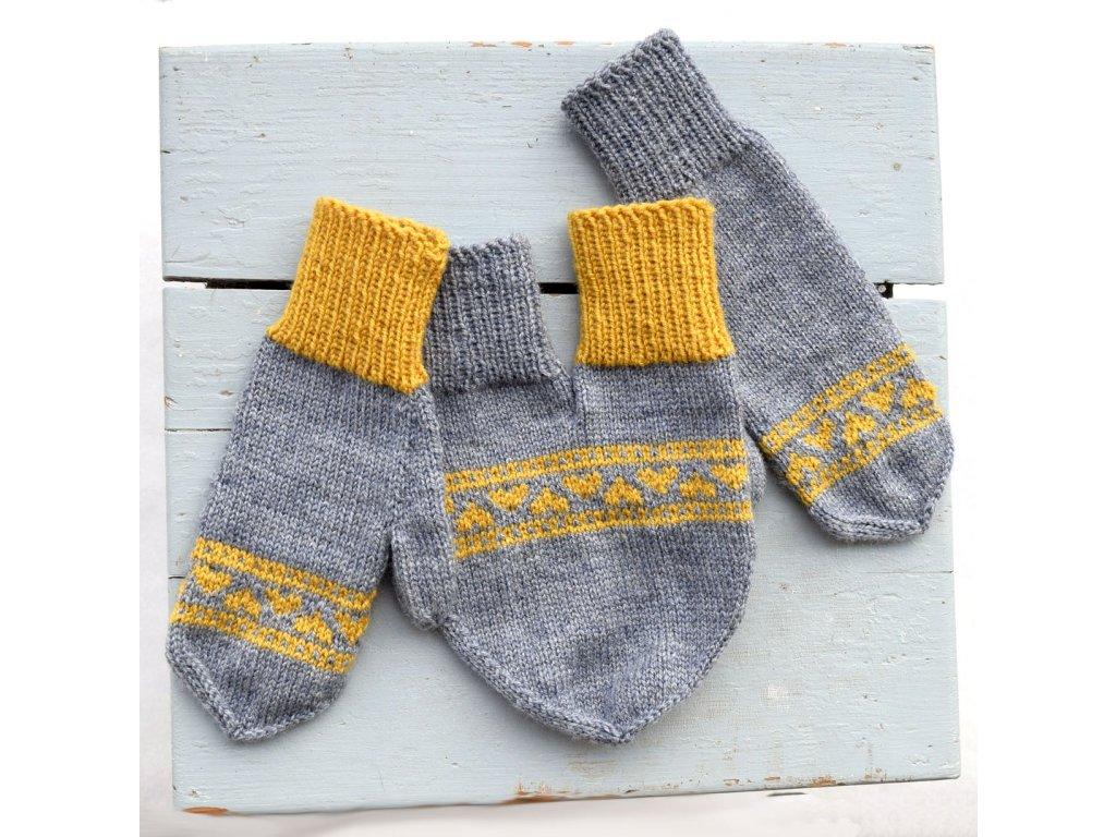 Partnerské rukavice - šedá/žlutá