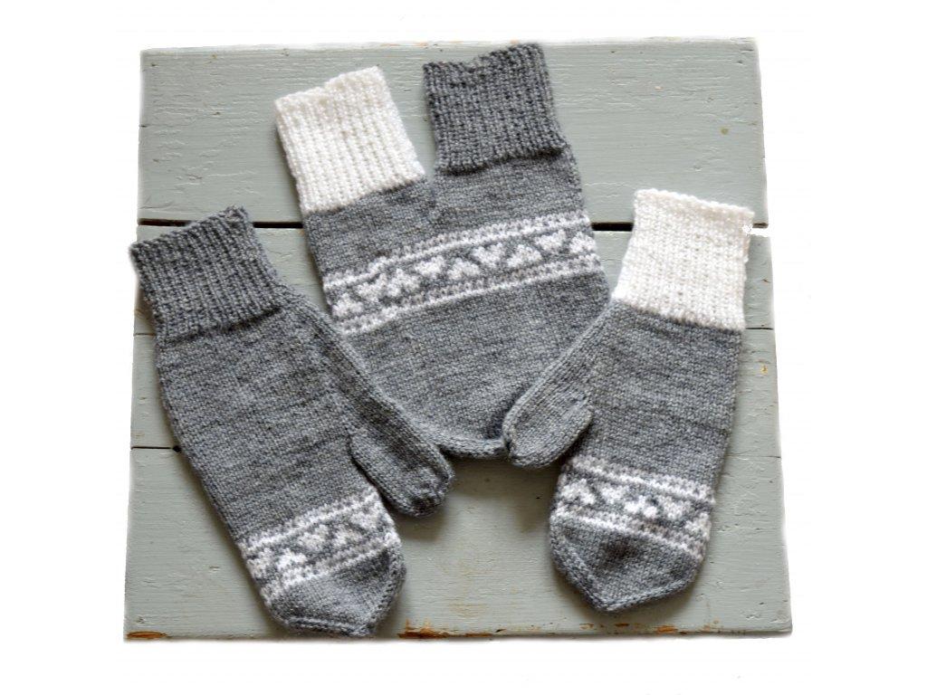 Partnerské rukavice - šedá/bílá