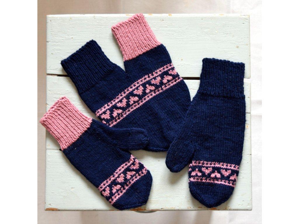 Partnerské rukavice - tmavá modrá/růžová