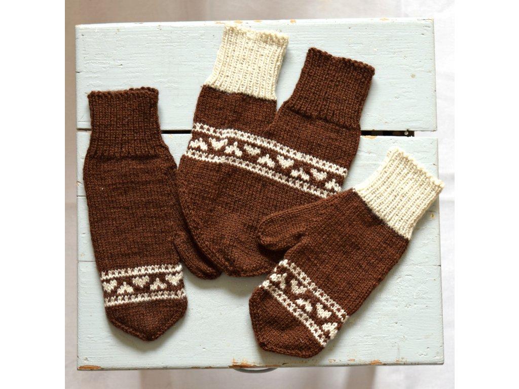 Partnerské rukavice - hnědá/béžová