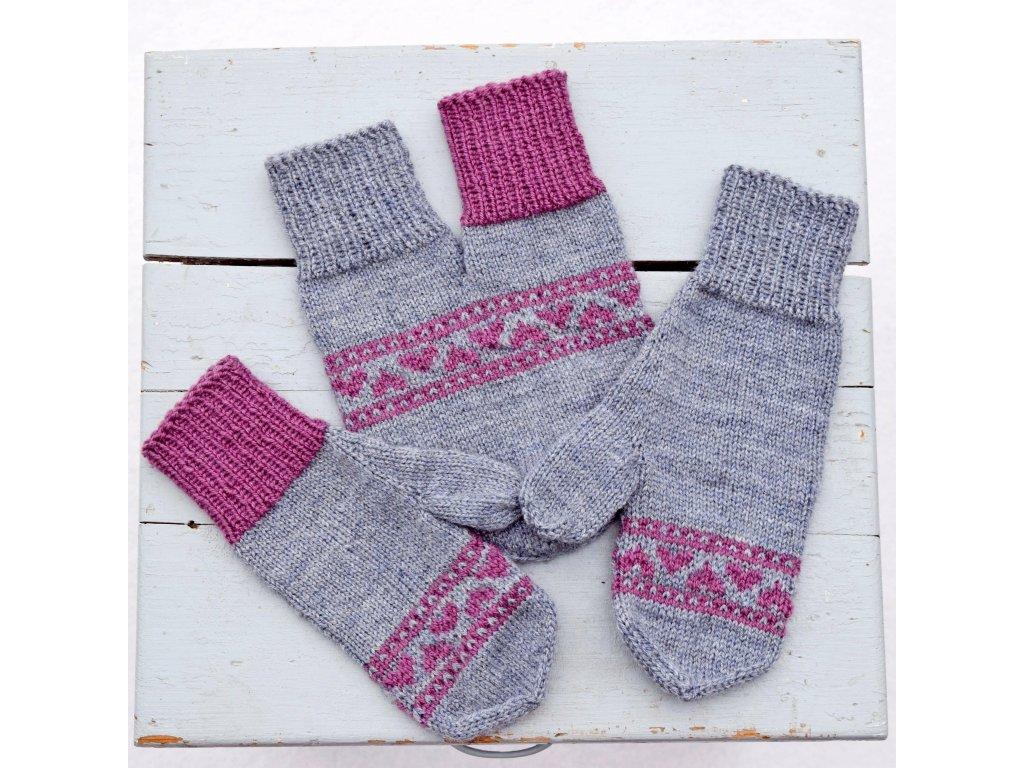 Partnerské rukavice - šedá/fialová