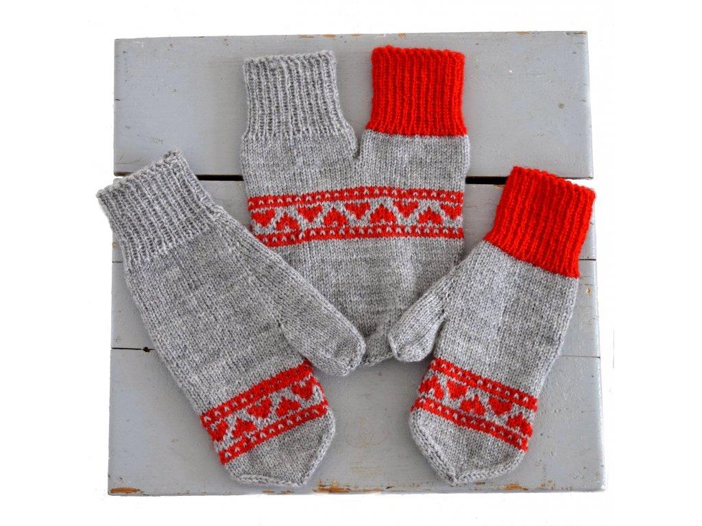 Partnerské rukavice - světle šedá/červená