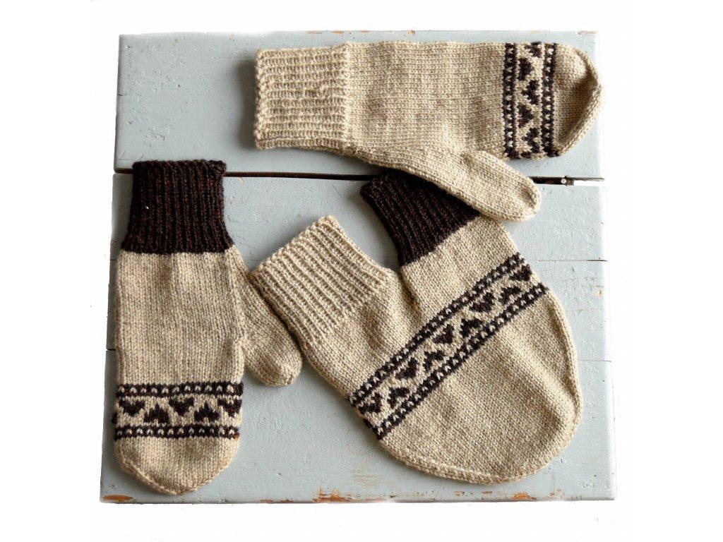 Partnerské rukavice - béžová/hnědá