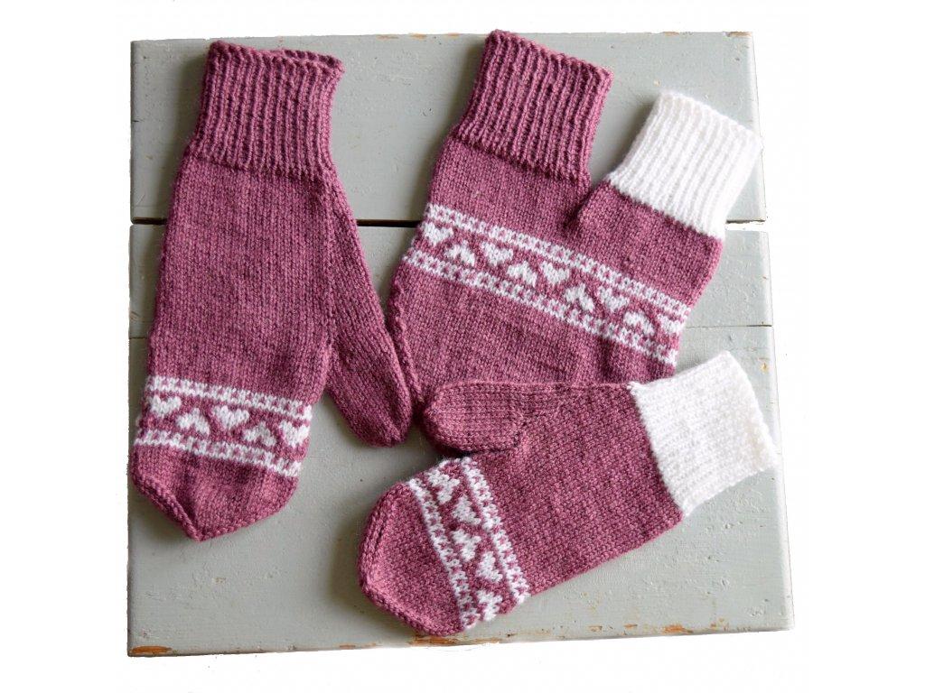 Partnerské rukavice - fialová/bílá
