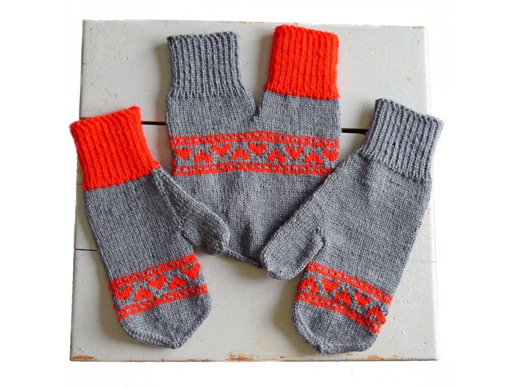 Partnerské rukavice - tmavě šedá/červená