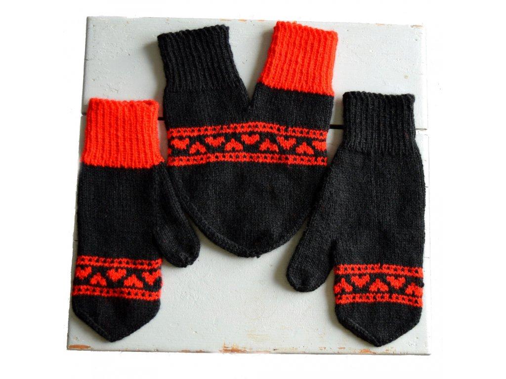 Partnerské rukavice - černá/červená