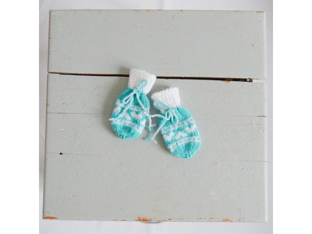 Rukavičky pro miminko - tyrkysová/bílá