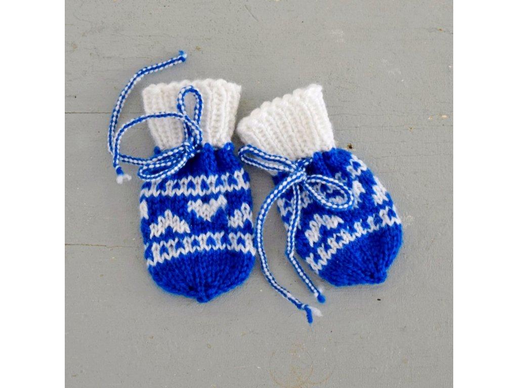 Rukavičky pro miminko - modrá/bílá