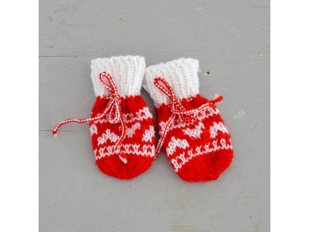 Rukavičky pro miminko - červená/bílá