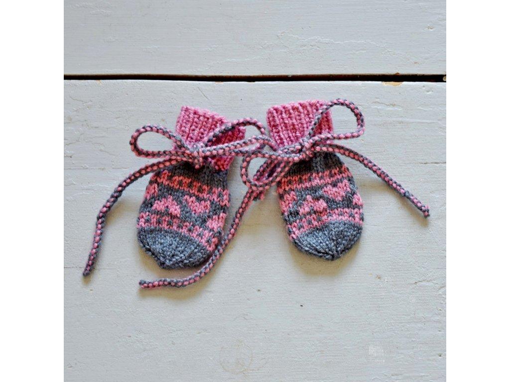 Rukavičky pro miminko - šedá/růžová