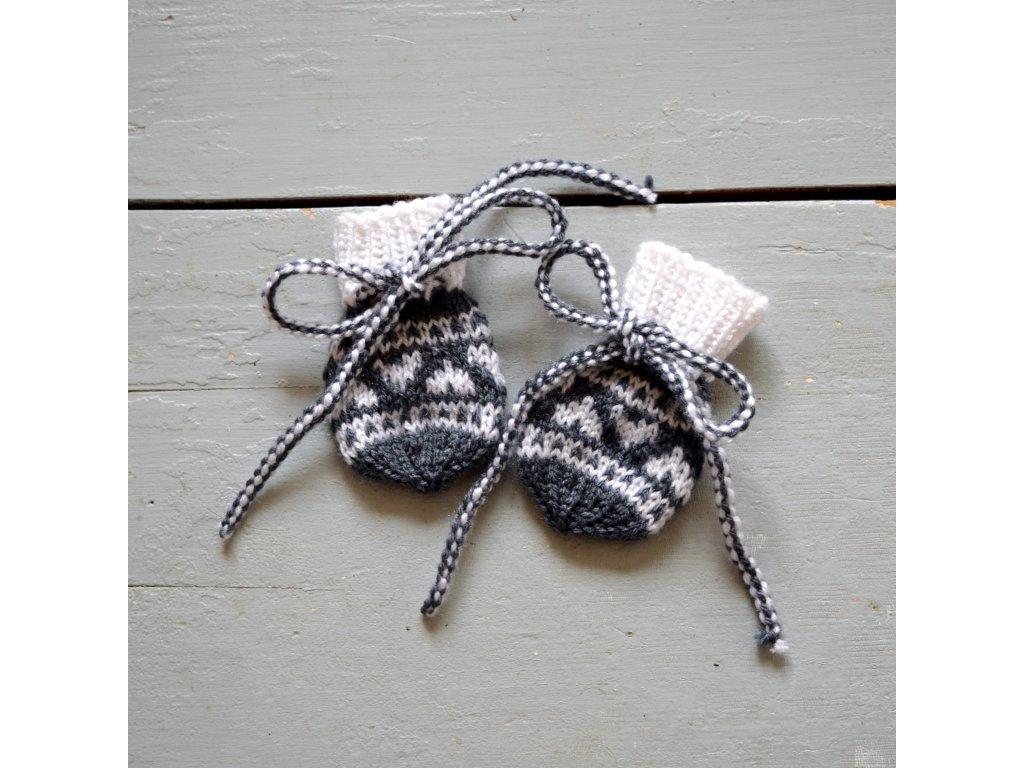 Rukavičky pro miminko - šedá/bílá